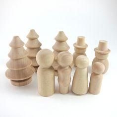 Winter Wonderland Wood Peg Doll Set