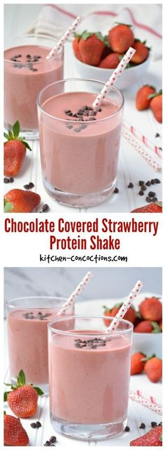Chocolate Covered Strawberry Protein Shake - This protein shake/smoothie recipe is a breakfast and post workout favorite! Chocolate Covered Strawberry Protein Shake - This protein shake/smoothie recipe is a breakfast and post workout favorite! Strawberry Protein Shakes, Homemade Protein Shakes, Chocolate Protein Shakes, Healthy Shakes, Easy Protein Shakes, High Protein, Premier Protein Shakes, Protein Powder Shakes, Chocolate Milkshake