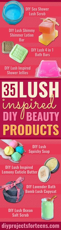 DIY Lush Inspired Recipes - How to Make Lush Products like Bath Bombs, Face Masks, Lip Scrub, Bubble Bars, Dry Shampoo and Hair Conditioner, Shower Jelly, Lotion, Soap, Toner and Moisturizer. Copycat and Dupes of Ocean Salt, Buffy, Dark Angels, Rub Rub Rub, Big, Dream Cream and More. http://diyprojectsforteens.com/diy-lush-copycat-recipes