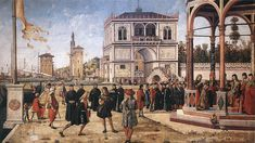 Only recently spotted the banner in the top left hand corner of this amazing Carpaccio painting - there are still flags like these, of course, all over Venice.....
