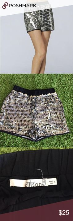 """Ellison Sequin Party Shorts These shorts are party perfect! Features a black atretch waist and fit true to size. No tears or pulls and in good condition. Made of 65% Polyester and 35% cotton. Writing on interior tag to prevent in-store returns. Measures 12"""" waist (laying flat), 13"""" length and 2"""" inseam. Ellison Shorts"""