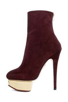 Charlotte Olympia Lucinda Ankle Boot in Aubergine $1,095