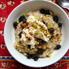 Steel Cut Oats with Ricotta, Pistachios & Raisins Recipe on Food52 recipe on Food52