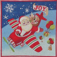 Santa Joy Ride GA-15 – BeStitched Needlepoint Joy Ride, Painted Canvas, Love You More, Needlepoint, Santa, Painted Screens, Oil On Canvas, Needlework, Crossstitch