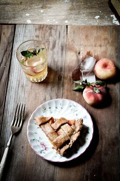 Peach Lattice Pie + Peach, Basil, & Amaretto Spritzer | fork spoon knife
