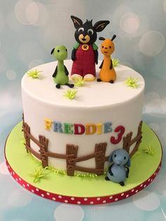 Bing bunny & friends - Cake by Shereen Bunny Birthday Cake, 3rd Birthday Cakes, Bing Cake, Bing Bunny, Festa Pj Masks, Friends Cake, Rabbit Cake, Celebration Cakes, Themed Cakes