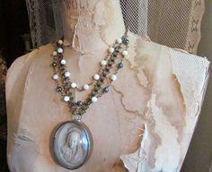 Antique Madonna meerschaum necklace mother of by madonnaenchanted