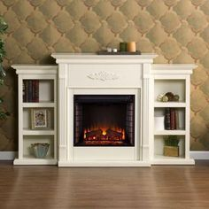 Southern Enterprises Jackson 70.25 in. Freestanding Media Electric Fireplace in Ivory with Bookcases-HD9137 - The Home Depot