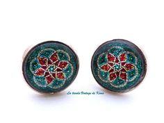Pendientes botón  mandala turquesa de La Tienda Vintage de Kima por DaWanda.com