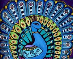 FREE SHIPPING- PEACOCK Art Poster Print of painting by Heather Galler (Hg447)