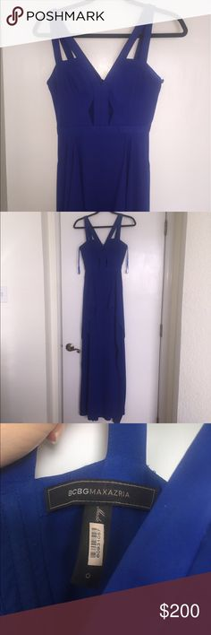 """Cobalt blue BCBG Maxazria dress Size 0 I wore this dress to my senior year prom and it was absolutely gorgeous! I got it hemmed to close one of the two slits (right slit closed) because it was a little too flashy with both open but other than that it is the exact same fit as the pictures! It is a size 0 but could definitely fit as a 2. I am also 5'10"""" so it's preferably for heights over 5'6"""" but it can be trimmed or worn with heels! Very modern slits on the chest area and loose fit on the…"""