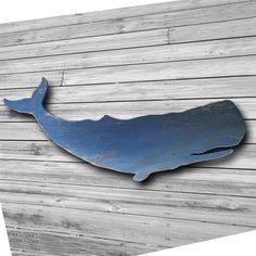 Wood Whale Art  Wall Hanging Folk Style 48 inch Blue Nautical. $98.00, via Etsy.  Might be my splurge!
