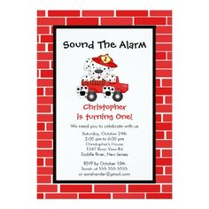 Trucks Birthday Party Invitations Dalmatian Puppy Fire Truck Birthday Party Card