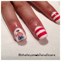 Just finished these for the birthday girl ! Acrylic extensions with 'Arctic Freeze' base, 'Hot Rod Red' stripes and a 'Where's Wally' Decal courtesy of Nail Art Supplies UK ~ Eileen Oliver  #shelleysmobilenailcare #acrylicextensions #gels #gelpolish #arcticfreeze #hotrodred #harmonygelish #decals #whereswally #whereswaldo #nails #nailart