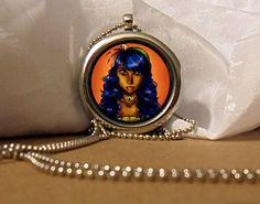 Gypsy Art Necklace, Gypsy Pendant, Gypsy Necklace, Gypsy Locket, Gypsy Woman, Fantasy Artwork, Art Pendant, Floating Charm, Fantasy Pendant