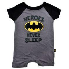 Infant Baby Boys Batman One-Piece Bodysuit Romper - Gray