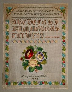 A Beautiful 19th Century Sampler Stitched By Leopoldine Boll  & Dated1812