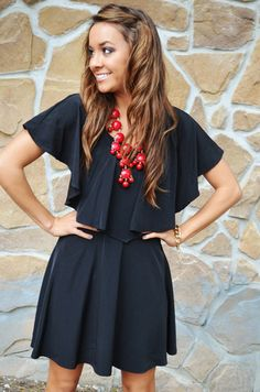 Little black dress and bold red bubble necklace