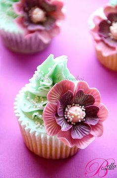 Pink Fantasy Flower Cupcake