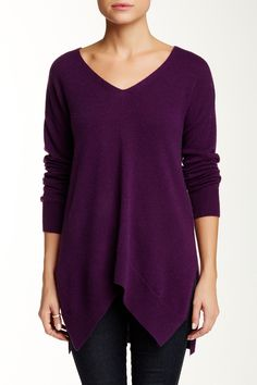 Double V-Neck Cashmere Sweater - would be cute with a cognac belt.   by Sofia Cashmere on @nordstrom_rack