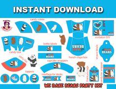 WE BARE BEARS kit de Fiesta en Inglés, Descarga Inmediata,  Decoración cumpleaños Somos Osos, We Bare Bears Party Supplies in English de SusanedaPrintables en Etsy