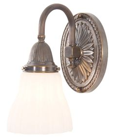 2 Brass Wall Light with Curved Reeded Arm