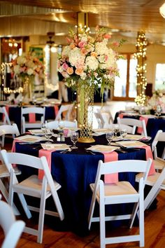 Top 5 Early Summer Navy Blue Wedding Ideas to Stand You Out---navy blue and coral wedding centerpeices with flowers, diy wedding reception decorations Navy Blue Wedding Theme, Gold Wedding, Wedding Table, Wedding Colors, Wedding Reception, Dream Wedding, Coral Navy Weddings, Reception Table, Reception Ideas