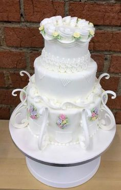 white cake with royal icing