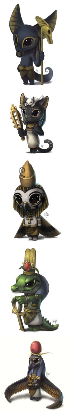 Cute art for the Egyptian gods: Anubis, Bastet, Horus, Sobek, and Thoth.