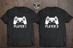 Player 1 Player 2 shirt, Matching Players Sets, Player Tees, Funny Tshirts for Friends, Players shirt, Player 1 Player 2 tshirts set  Great present for your best friend, yo... #tees2peace #game #playstation #controller #gamer