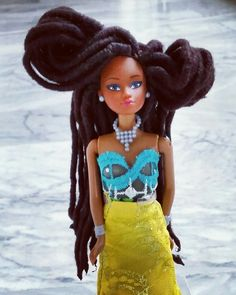 Wuraola #QueensofAfrica #BlackDoll with handmade #DreadLocks in custom made outfit. #HighFashion #Couture #AvantGarde