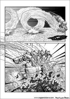 Cs&Cs wordless webcomic page 116. #webcomic #comicbooks #manga #mech #mecha #spider #spidermech #2000ad #clank #action #explosion #zoids #transformers #gundam #starwars #tmnt #rocketraccoon