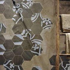 Mismatched Tile - cool for kitchen floor or open floor plan