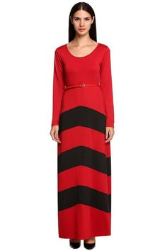 Womens Contrast Color Striped Maxi Dresses Plus Size