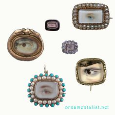 In the late 18th and early 19th centuries, miniature eye portraits were all the rage. This was after the late 17th century rage for miniature portraits of any kind. They were painted most often using watercolor or gouache, on a substrate of ivory or parchment, then set into a bit of jewelry- a pin or pendant. In Victorian times the eye portrait was often a piece of mourning jewelry, but the origin of this form was as a token of love.