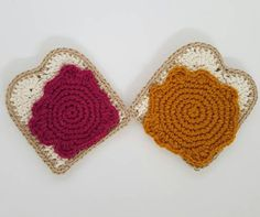 Crochet Peanut butter and jam toast coasters are available in sets of 2 and 4. set of 2 includes: 1 peanut butter toast, 1 Jam Toast. set of 4 include: 2 peanut butter toasts, 2 Jam Toasts. Care Instructions: Spot clean only.  If you would like a specific color, or variation that you dont see please send me an email before purchase.  Made in a dog-friendly home.  Each one is hand made with love so there might be slight variations. But I work very hard to ensure consistency.
