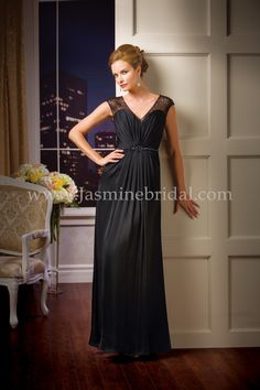 Jasmine Bridal Jade Couture Style K178059 in Black // This mother-of-the-bride dress is a stylish and chic gown that is perfect for any special occasion. Available in 24 colors, this Couture Satin Face Chiffon A-line gown features a gathered bodice, sweetheart neckline and beaded illusion cap sleeves.