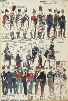 ******** Militaria, Italia XIX secolo. Uniformi varie del Ducato di Lucca, 1818-1841. Tavola dal Codice Cenni.