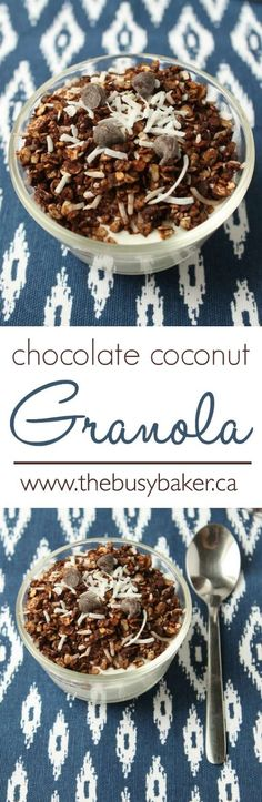 Perfect for busy mornings and back to school! A super easy granola recipe that's healthy but will satisfy your chocolate cravings! The Busy Baker: Chocolate Coconut Granola Chocolate Coconut Granola Recipe, Vegetarian Chocolate, Chocolate Recipes, Chocolate Lovers, Sweet Breakfast, Breakfast Dessert, Breakfast Recipes, Brunch Recipes, Breakfast Options