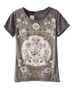 Premium T-Shirt with Baroque Print Details