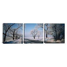 Latitude Run Road Passing Through Winter Fields Illinois, USA 3 Piece  Photographic Print on Wrapped Canvas Set Size: