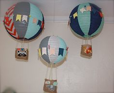 Nursery mobile hot air balloon decor, baby room, shower decoration, wedding theme