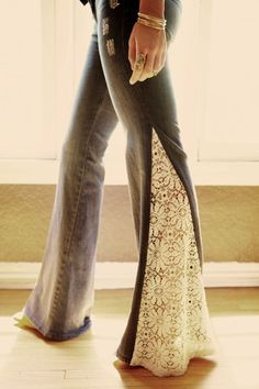 lace insert flare jeans