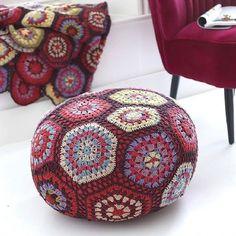 Boho revival crochet pouffe at http://www.anangelatmytable.com