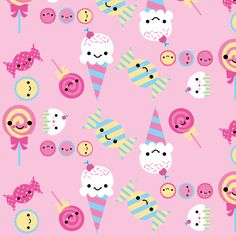 Cute Sweets Pink fabric by boredinc on Spoonflower - custom fabric