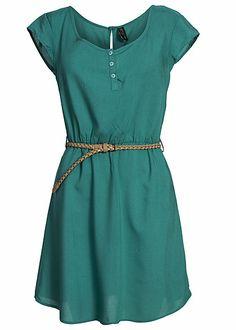 Eight2Nine Damen Kleid mit Flechtgürtel Knopfleiste by Fresh Made türkis grün kaufen   77Store