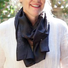 long black and grey scarf / grey and black silk by CeliaEtcetera