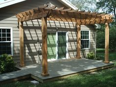Inspiring Pergola Plans For More Beautiful Yard Ideas: Simplistic Pergola Plans Ideas Of Home Backyard Design With Sigle Hung Window And Glass Door
