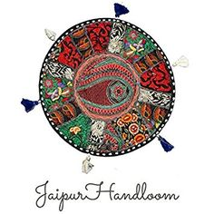JaipurHandloom Indian Embroidered Patchwork Round Floor Cushion Cover Pillows, Indian Living Room Pouf Decorative Pouffe, Indian Ethnic Round Pouffe 43 cms or 17 Inch