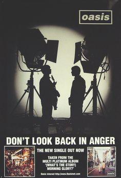 Oasis - Don't Look Back In Anger (Sweden) Look Back In Anger, Dont Look Back, Liam And Noel, Band Posters, Movie Posters, Damon Albarn, Noel Gallagher, Blur, Oasis